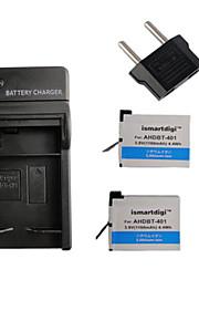 ismartdigi 401 x2 1160mah kamera batteri + eu stik + oplader til GoPro 4 kamera ahdbt 401