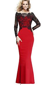 kvinders blonder patchwork fiskehale fuld længde maxi kjole