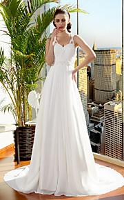 Lanting Bride® Trapèze Princesse Petites Tailles Grandes Tailles Robe de Mariage  Traîne Tribunal Bretelles Fines Mousseline de soie avec