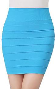 Women's Pleats Pure Color Mini Skirt