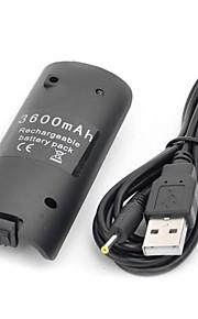 """""""3600mAh"""" usb genopladeligt batteri med USB-kabel til Wii Remote controller (sort)"""