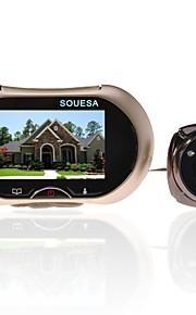 souesa 3,7 tommer 130 grader vidvinkel kighul TFT LCD digital dør viewer dørklokken sikkerhed kamera cam + 4gb TF kort