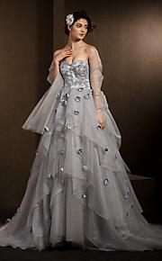 Lanting Bride® Robe de Soirée Petites Tailles / Grandes Tailles Robe de Mariage  Colorées / Avec Boléro Traîne Chapelle Coeur Organza avec