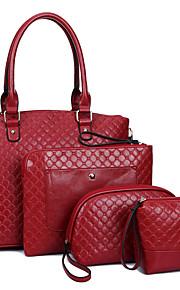 Women PU Shopper Shoulder Bag / Tote - Blue / Red / Black