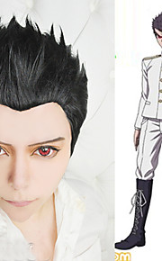 Angelaicos Mens DanganRonpa Kiyotaka Ishimaru Punk Cool Boys Black Short Layered Halloween Party Costume Cosplay Wigs
