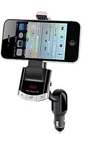 bluetooth håndfrit bilsæt til cigarettænder, bluetooth 4,0 / FM-sender / oplader til bil / mobiltelefon holder
