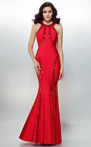 возвращение формальный вечернее платье - рубиново-оболочка / колонки драгоценность Джерси длиной до пола