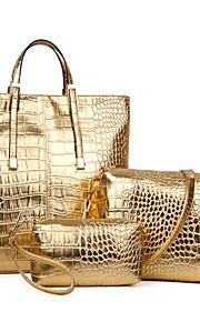 Women Patent Leather Barrel Shoulder Bag / Tote - Gold / Silver / Black