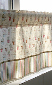 "One Panel 55""W*15""L(140cmW* 40cmL)Floral / Botanical Cotton Kitchen Curtain"