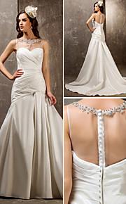 lanting ajuste& flare tallas grandes del vestido de boda - marfil barrido / cepillo tren tul de novia / tafetán de nylon