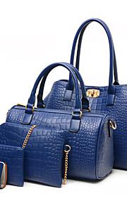 Women PU Barrel Shoulder Bag / Tote - Blue / Gold / Red / Black