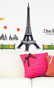 Environmental Removable Eiffel PVC Wall Sticker 3D