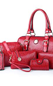 Women PU / Patent Leather Barrel Shoulder Bag / Tote / Evening Bag - White / Pink / Blue / Red / Black