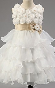 Prinsessa Satiini/Tylli Flower Girl Dress - Hihaton - Polven alle