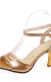Фиолетовый / Серебристый / Золотистый-Женская обувь-На каждый день-Дерматин-На шпильке-На каблуках / С открытым носком-Сандалии
