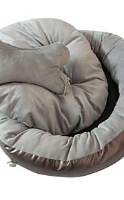 høj kvalitet ren farve bløde kæledyr seng med en knogle form pude til hund / kat (assorterede farver)