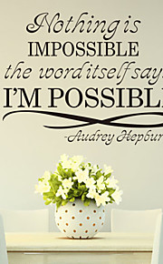 Wall Stickers Wall Decals , Nothing is Impossible English Proverbs  PVC Wall Stickers