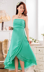 Asymmetrical Chiffon / Polyester Bridesmaid Dress A-line Strapless with Ruching