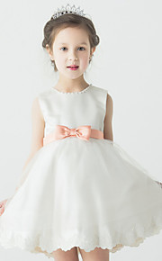 Tanssiaisasu Satiini/Tylli Flower Girl Dress - Hihaton - Lyhyt/Mini