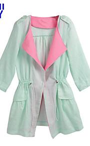 ZAY Women's Casual Lapel Color Block  ¾ Sleeve Long Coat