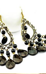 Women's Hollow Out Vintage  Tassels Black Drop Earrings