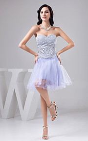 칵테일 파티 드레스 - 라이트 스카이 블루 A라인 무릎길이 스위트하트 명주그물/반짝이