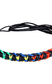 Unisex Western Style Colourful Lucky Charm Bracelet Faux Leather