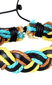 Unisex Korean Style Fashion Weave  Chain Bracelet Faux Leather