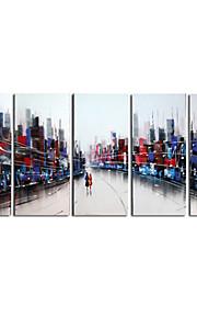 håndmalte art vegg dekor gal verden oljemaleri på lerret 5pcs / set (uten ramme)