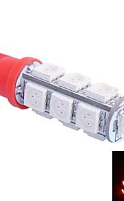 t10 2,5 W 250lm 13x5050 grøn / rød / blå / kold / varmt lys til cardashboard / dør / trunk lampsdc 12v