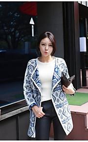 Women's Vintage/Casual/Party/Plus Sizes Thick Long Sleeve Regular Coat (Cotton Blends)