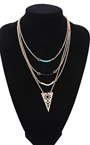 Naisten metalliseos eurooppalainen tyyli muoti monikerroksinen ontto kolmio kaulakoru