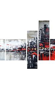 håndmalte art vegg dekor svart rød bybildet oljemaleri på lerret 5pcs / set (uten ramme)