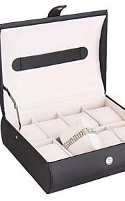 glam boîte de non-personnalisée de bijoux en similicuir avec 8 fentes regarder boîte de présentation des bijoux de cas