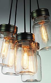 Bottle Design Pendant, 5 Light with Transparent Shade