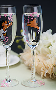 Color Hand-painted Toasting Flutes (Set of 2)----Kissing of the Bride and Groom