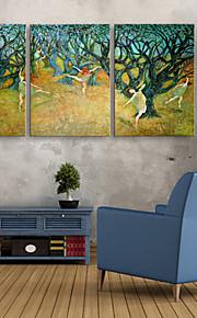 e-FOYER étiré conduit art de toile d'impression femme sous l'arbre conduit clignotant ensemble de 3 d'impression de fibre optique