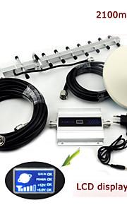 LCD-display mini w-cdma 2100MHz mobiele telefoon signaal booster 3G-signaal repeater + yagi antenne + plafond antenne