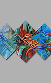 met de hand geschilderd olieverf op doek kunst aan de muur abstracte hedendaagse blauw groen vier panel klaar te hangen