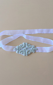 Garter Tulle Ribbons/Rhinestone White