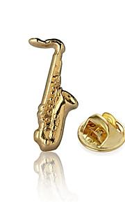 Musical Saxophone Gold Suit Lapel Pin Brooch Emblem Badge