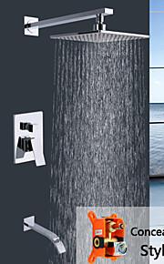 shengbaier mur de chrome contemporaine monté à double poignées en laiton robinet de douche
