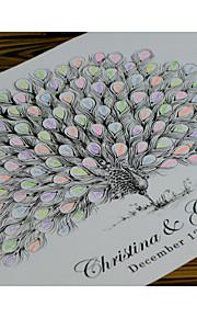 Finger Print Peacock Wedding Singature Tree, Wedding Guest Book Alternative