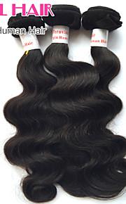 """3 шт лот 8 """"-30"""" перуанские тело волна девственные волосы утки натуральный черный 1b # человеческих волос Weave пучки запутывает свободно"""