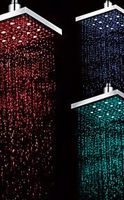 8 pouces finition chrome rectangulaires 3 couleurs à température contrôlée conduit douche à effet pluie