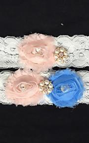Garter Lace Flower/Imitation Pearl/Rhinestone Ivory