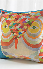 Colorful Owl Cotton/Linen Decorative Pillow Cover