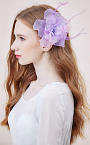 Women's Feather/Rhinestone/Net Headpiece - Wedding/Special Occasion/Casual Flowers 1 Piece