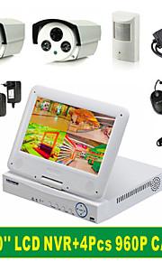 4CH 10 '' tommer skærm lcd NVR skærm combo kits + 4stk 960p kamera + 1TB harddisk