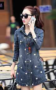 Women's Vintage/Casual/Print/Cute/Party/Work Cotton/Denim/Polyester Coat , Long Sleeve